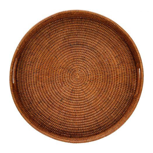 Round Rattan Tray With Handle - Dark