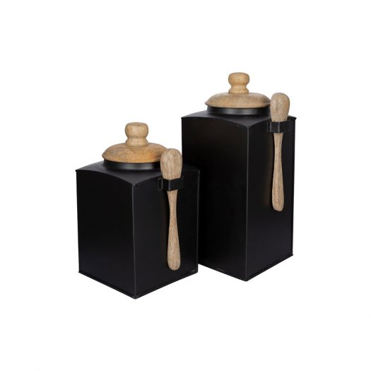Black Storage Pot With Spoon - Set of 2