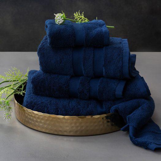 Pima Towel – Navy – Face Cloths – Set of 3