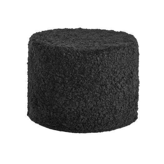 Short Wool Curly Pouf - Black