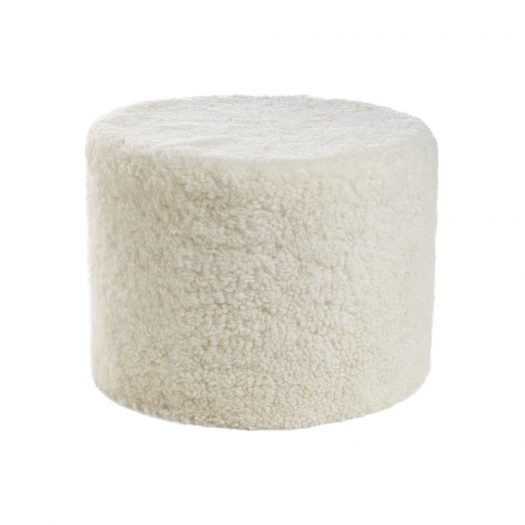 Short Wool Curly Pouf - Ivory
