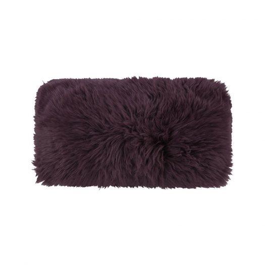 New Zealand Sheepskin Cushion - 28x56cm - Aubergine