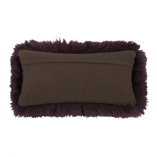New Zealand Sheepskin Cushion – 28x56cm – Aubergine
