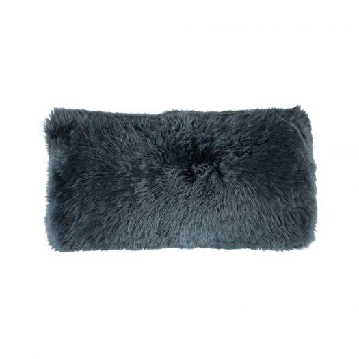 New Zealand Sheepskin Cushion - 28x56cm - Navy