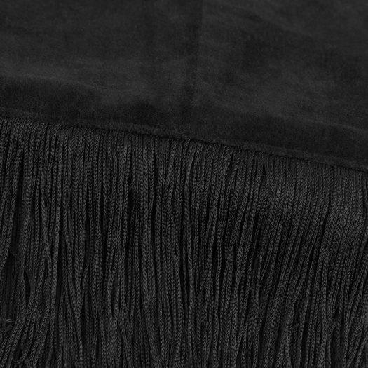 Velvet Tassel Fringe Throw – 130x170cm – Black