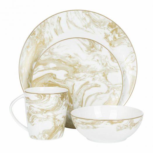 Gunnison Porcelain Dinner Plate – Set of 4 – Gold
