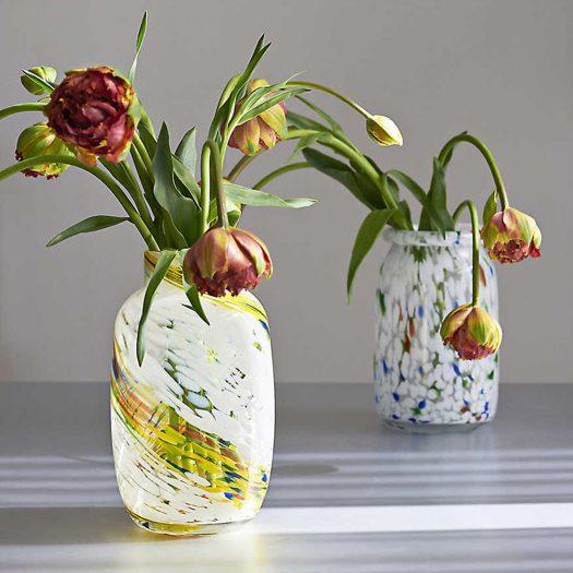 Splash Swirl-pattern Glass Vase 23cm