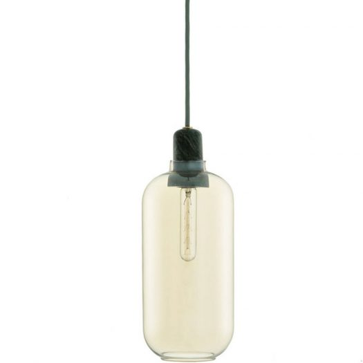 Amp Glass and Marble Light Large Gold Green
