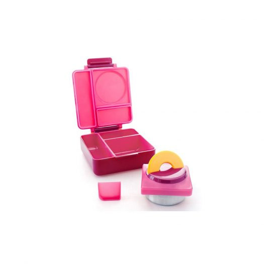 OmieBox Kids Bento Lunch Box with Insulated Thermos, Pink Berry
