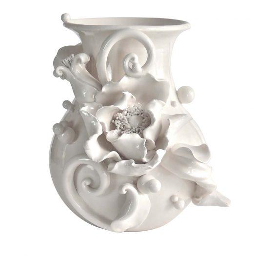 Moonlight Poppy Vase The White Symphony Collection