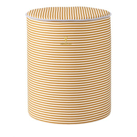 Honey Pouf with Caramel Stripes