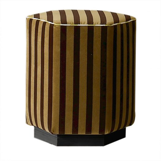 JN 151 Striped Pouf in Gold and Black