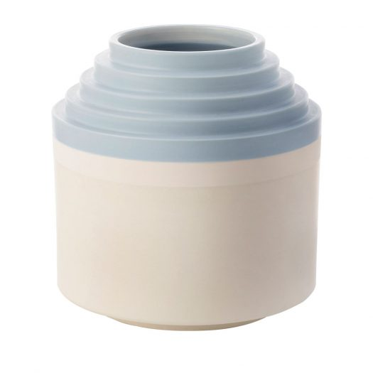 Small Round White and Light Blue Vase by Ettore Sottsass