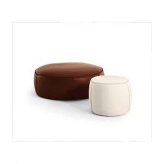 Casablanca White Leather Pouf