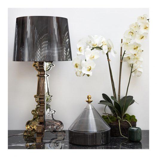 Metallic Bourgie Lamp Multicoloured Titanium