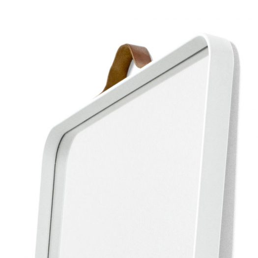 Norm Floor Mirror White with Leather Strap