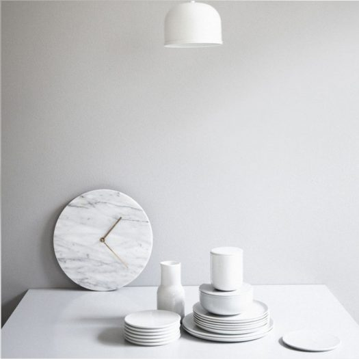 Marble Wall Clock White