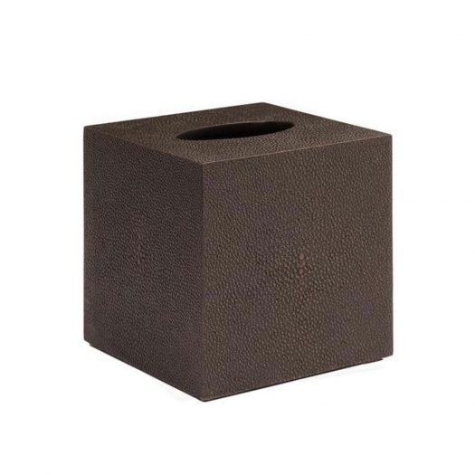 Chelsea Square Tissue Box  in Faux Skin Shagreen Chocolate