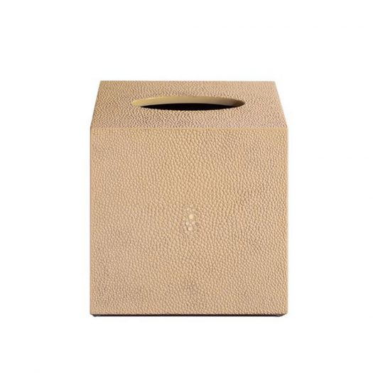 Chelsea Square Tissue Box  in Faux Skin Shagreen Natural