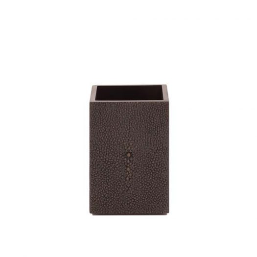 Chelsea Toothbrush Holder   in Faux Skin Shagreen Chocolate