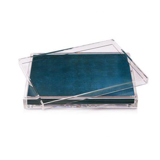 Servebox Clear Silver Leaf Matte Blue