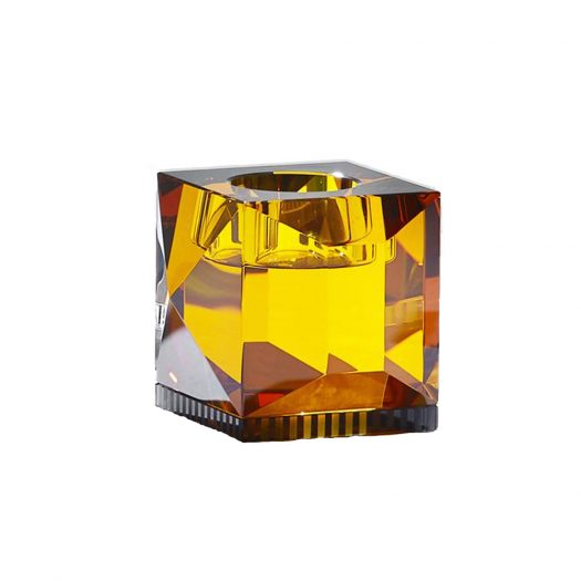 Ophelia T-Light Holder Amber/Black