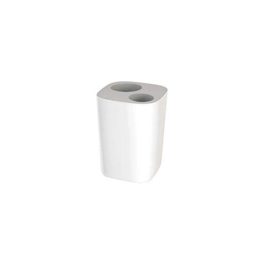 Split Bathroom Waste Separation Bin, White and Grey