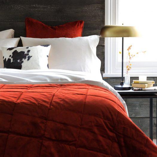 Diamond Velvet Bedspread – Burnt Sienna – 140x200cm