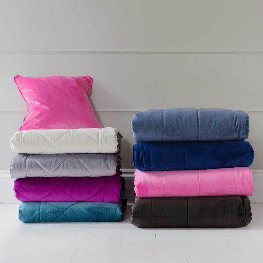 Diamond Velvet Bedspread – Grey – 140x200cm