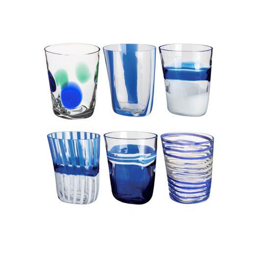 Bora Set of 6 Blue Glasses N. 1