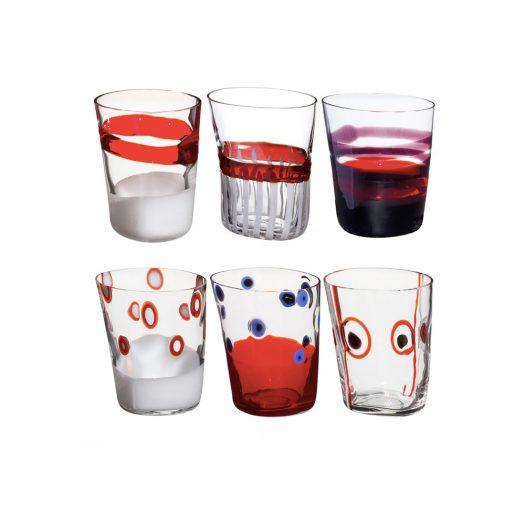 Bora Set of 6 Red Glasses N. 1