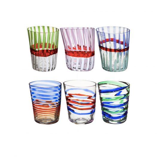 Bora Set of 6 Multicolored Glasses N. 1