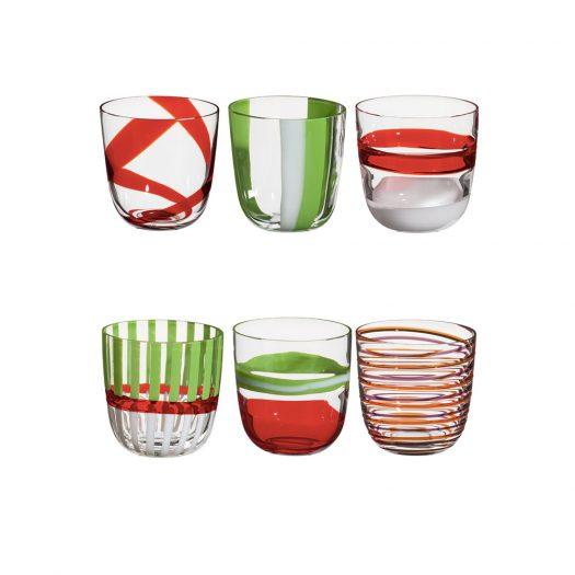 I Diversi Set of 6 Multicolored Glasses N. 1