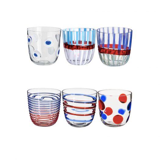 I Diversi Set of 6 Blue/Red Glasses N. 1