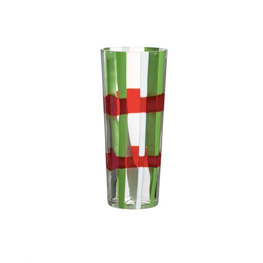Troncocono Green/Red Vase