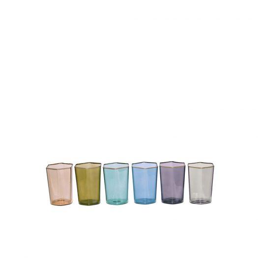 Hexagonal Set of 6 Colorful Glasses