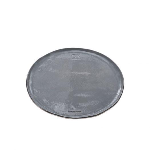 Gray Ceramic Tray with Gold Rim