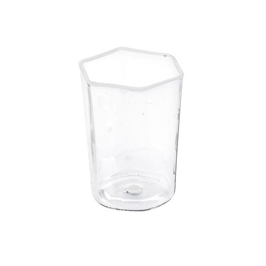 Set of 6 Hexagonal Water Glasses with White Details