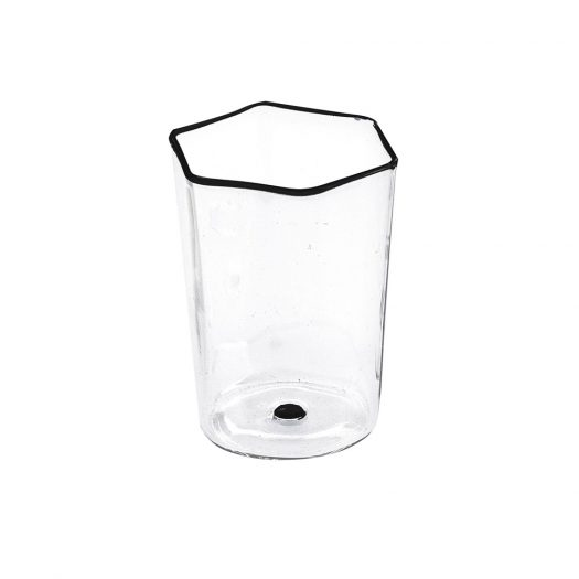 Set of 6 Hexagonal Water Glasses with Black Details