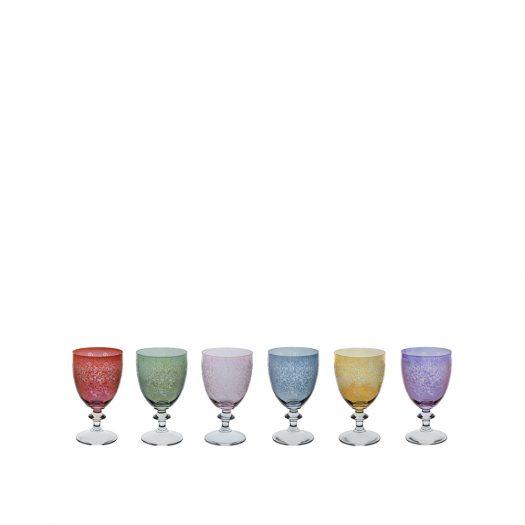 Set of Six Ravel 3 Stem Glasses