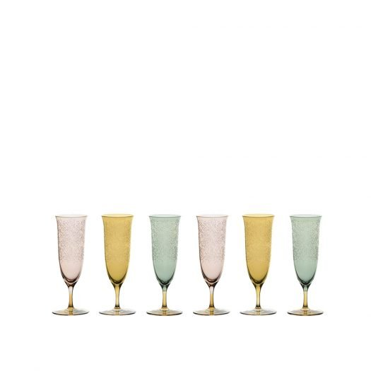 Set of 6 Fluted Champagne Glasses