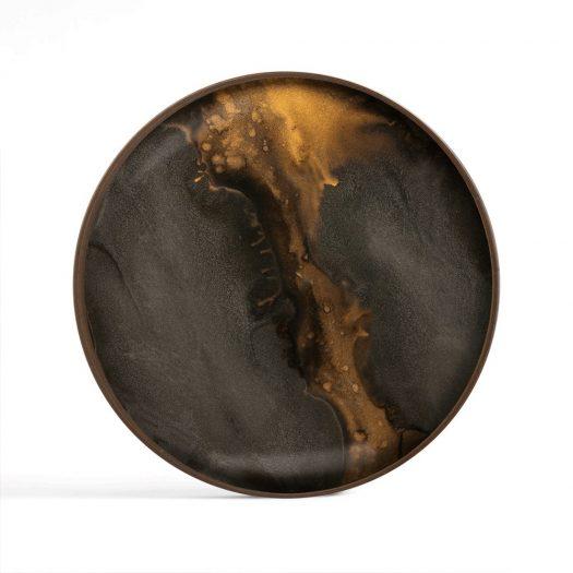 Bronze Organic Glass Valet Tray – Round