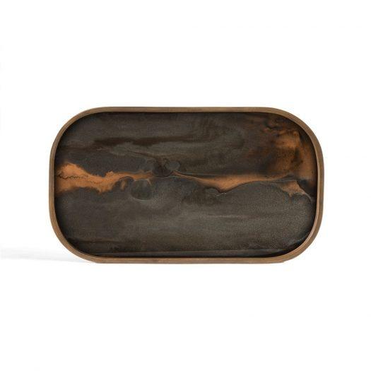 Bronze Organic Glass Valet Tray - Rectangular