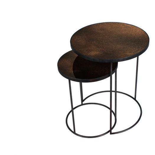 Bronze Copper Nesting Side Table Set