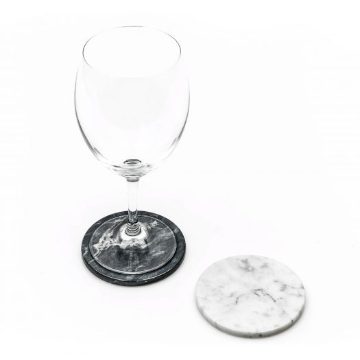 Set of 2 Marble Coasters with Cork