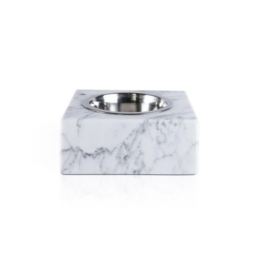 Marble Bowl for Pets with Removable Steel Bowl