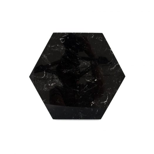 Hexagonal Black Marquina Marble Plate with Cork