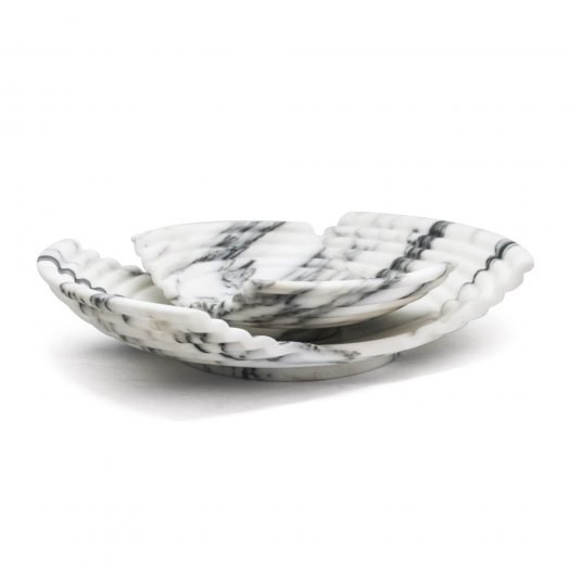 Large Wave Tray in Arabescato Marble