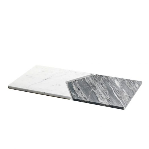 Set of 2 Platters in White and Grey Marble