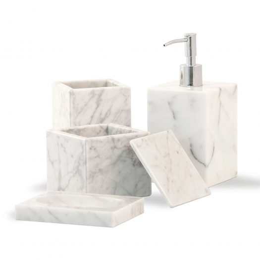 Marble Box Holder with Lid White